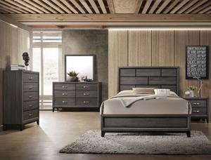 Brand New Gray Panel Bedroom Set, Bedroom Furniture (bed frame, Dresser, mirror, nightstand)