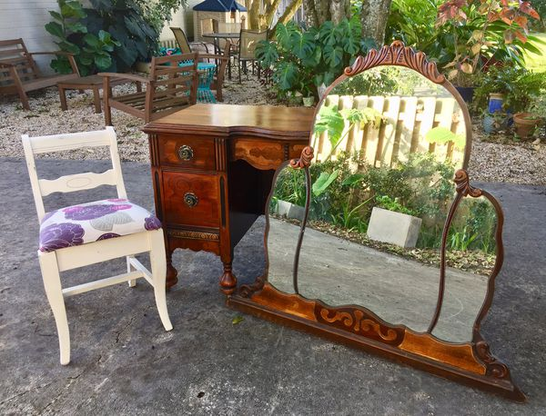 Vintage Art Deco 2 Toned 1920 S Vanity Dressing Table For Sale In