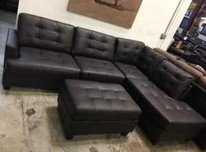 Brand new faux leather sectional sofa with ottoman for Sale in Silver Spring, MD