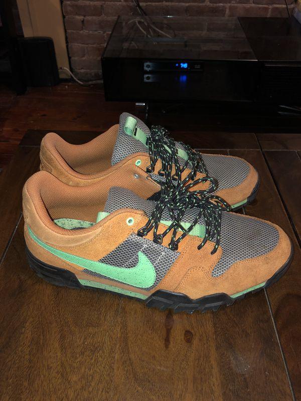 350ecba19d1e RARE🔥 Nike x Stussy Mogan 2 OMS Premium Ginger Poison Green Sz 11  576349-205 LE