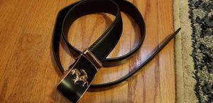 Black leather belt Italian style with golden Ferrari logo for Sale in Alexandria, VA