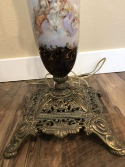 Antique Porcelain and Brass Lamp Thumbnail