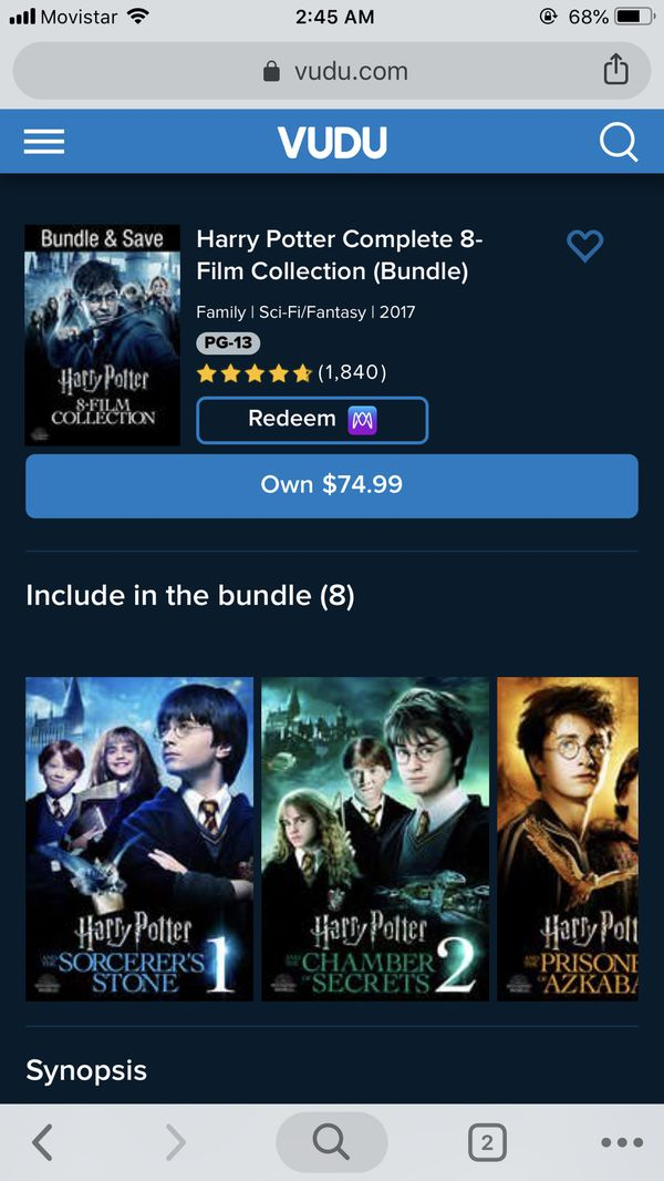 4K UHD Harry Potter Complete Collection Digital Movie Code for Sale in  Washington, DC - OfferUp