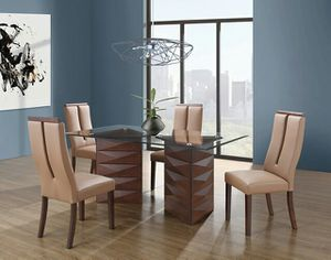 Brand New Modern Warm Brown Dining Set Including Table And 4 Chairs For Sale In Charlotte