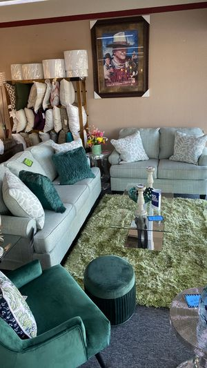 Photo Two Piece Sofa and Love Seat Greenish Color with Pillows GA8RI