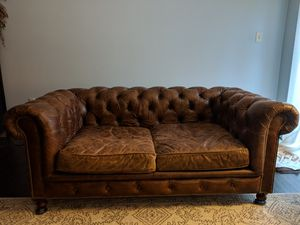 """* * 76"""" Sofa / Couch Restoration Hardware Tufted Leather for Sale in Alexandria, VA"""