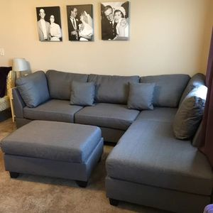 Brand New Grey Linen Sectional Sofa Couch +Ottoman for Sale in Silver Spring, MD