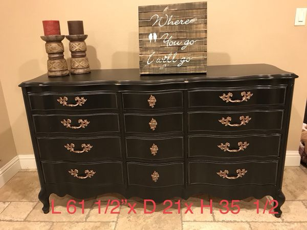 Black 12 Drawer Solid Wood French Provincial Dresser For Sale In