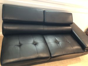 Black leather sofa with adjustable arms and headrest for Sale in Fort Washington, MD