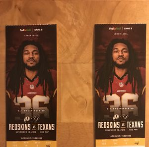 100 level Redskins vs Texans tickets! for Sale in Silver Spring, MD
