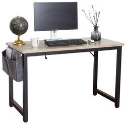 Computer Desk 47 Inch Modern Sturdy Office Desk, Heavy Duty Writing Study Desk for Home Office with Extra Thickened Frame & Strong Legs (Black+White) Thumbnail