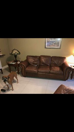 Leather sofa. Love seat. Chair. Foot stool for Sale in Miami, FL