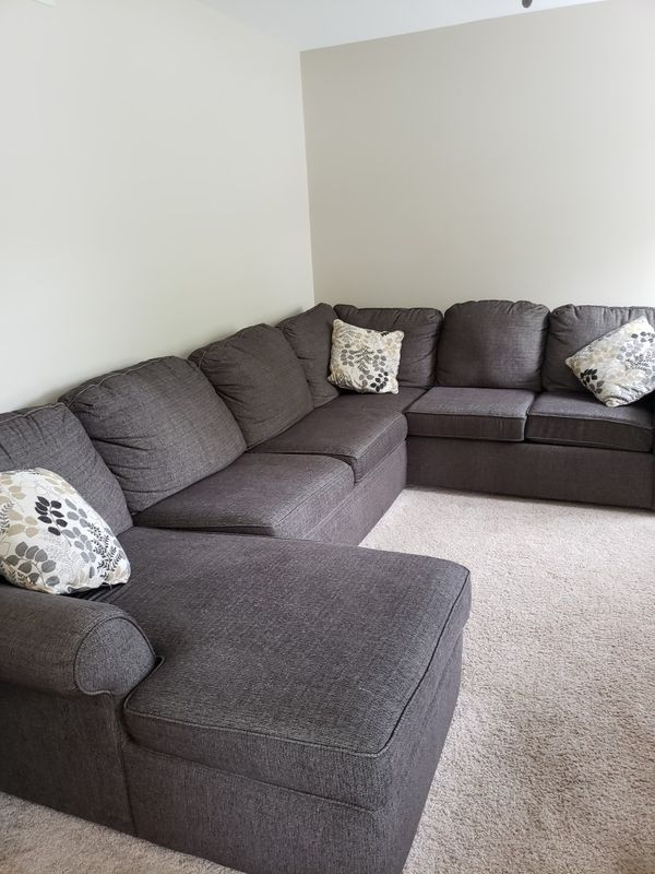 3 Piece Grey Sectional Sofa With Chaser England Style Bought New