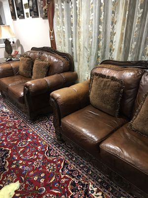3 piece real leather brown couches for Sale in Fairfax, VA