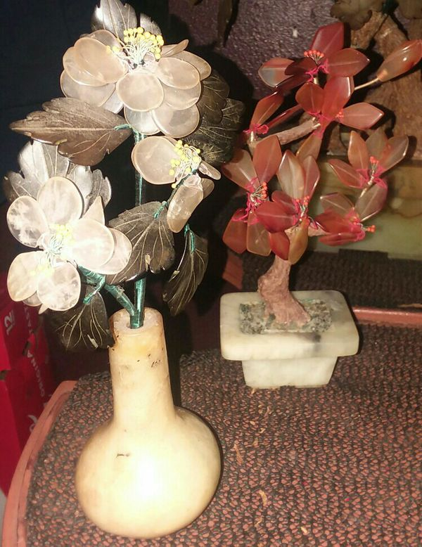Jade And Glass Vintage Bonsai Tree With 6 Small Glass Flower In Jade