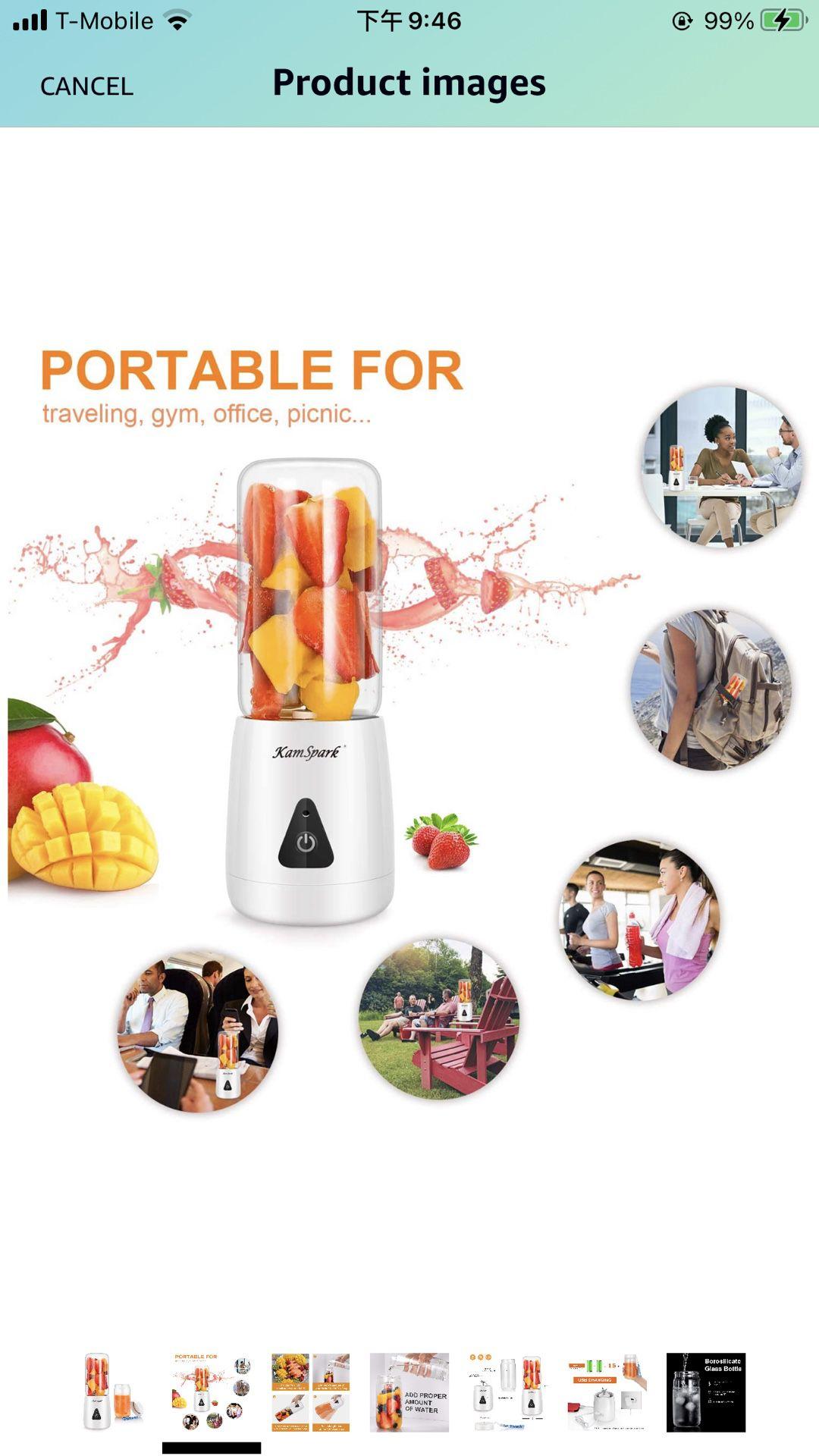 Portable Blender-KamSpark Smoothie Blender USB Rechargeable Battery Operated 2000mAh, Mini Blender (12oz), 6 Blades, Glass Cup BPA Free Food Grade, De
