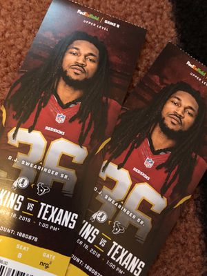 Redskins Texans 2 tickets upper level for Sale in Saint Charles, MD