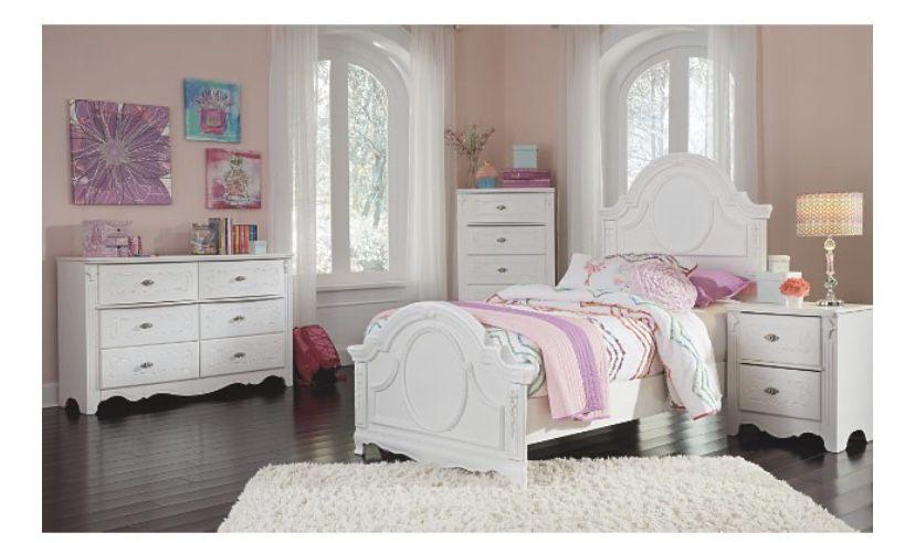 Ashleys Furniture White Dresser and Nightstand.