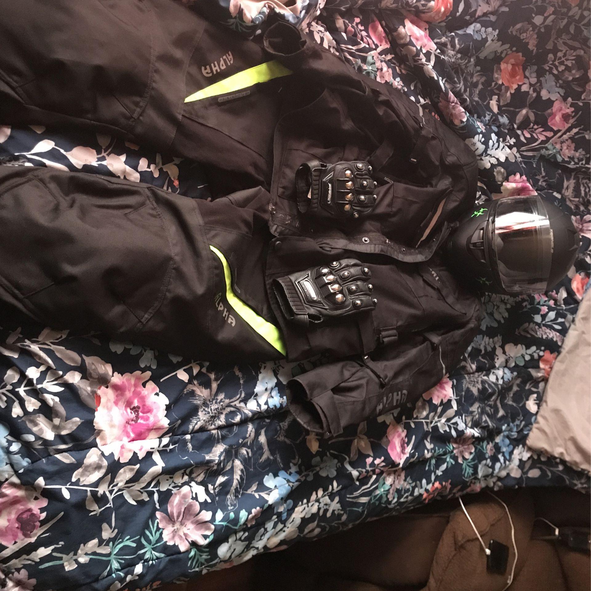 Photo Motorcycle Gear, Jacket Pants Helmet Gloves Selling As A Set Or Separate