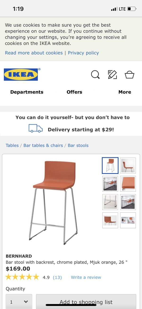 Miraculous Bar Stool With Backrest Chrome Plated Mjuk Orange 26 For Sale In Winter Park Fl Offerup Andrewgaddart Wooden Chair Designs For Living Room Andrewgaddartcom
