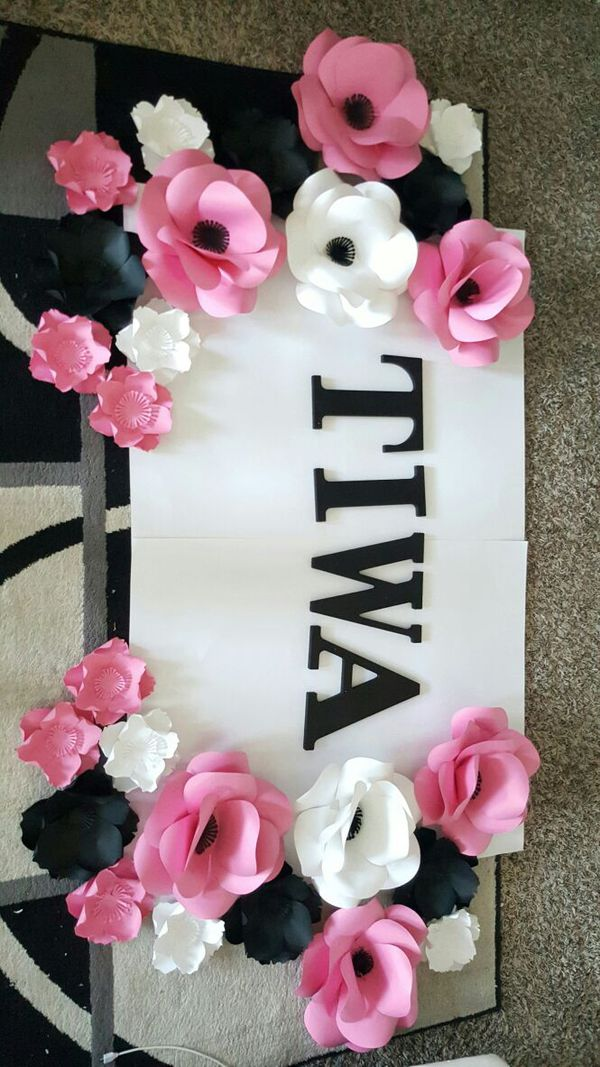 Paper Flower Backdrop Letters Sign Signage Birthday Wall Art Baby