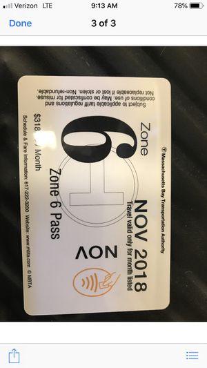 November Zone 6 Commuter Rail T Pass for Sale in Boston, MA