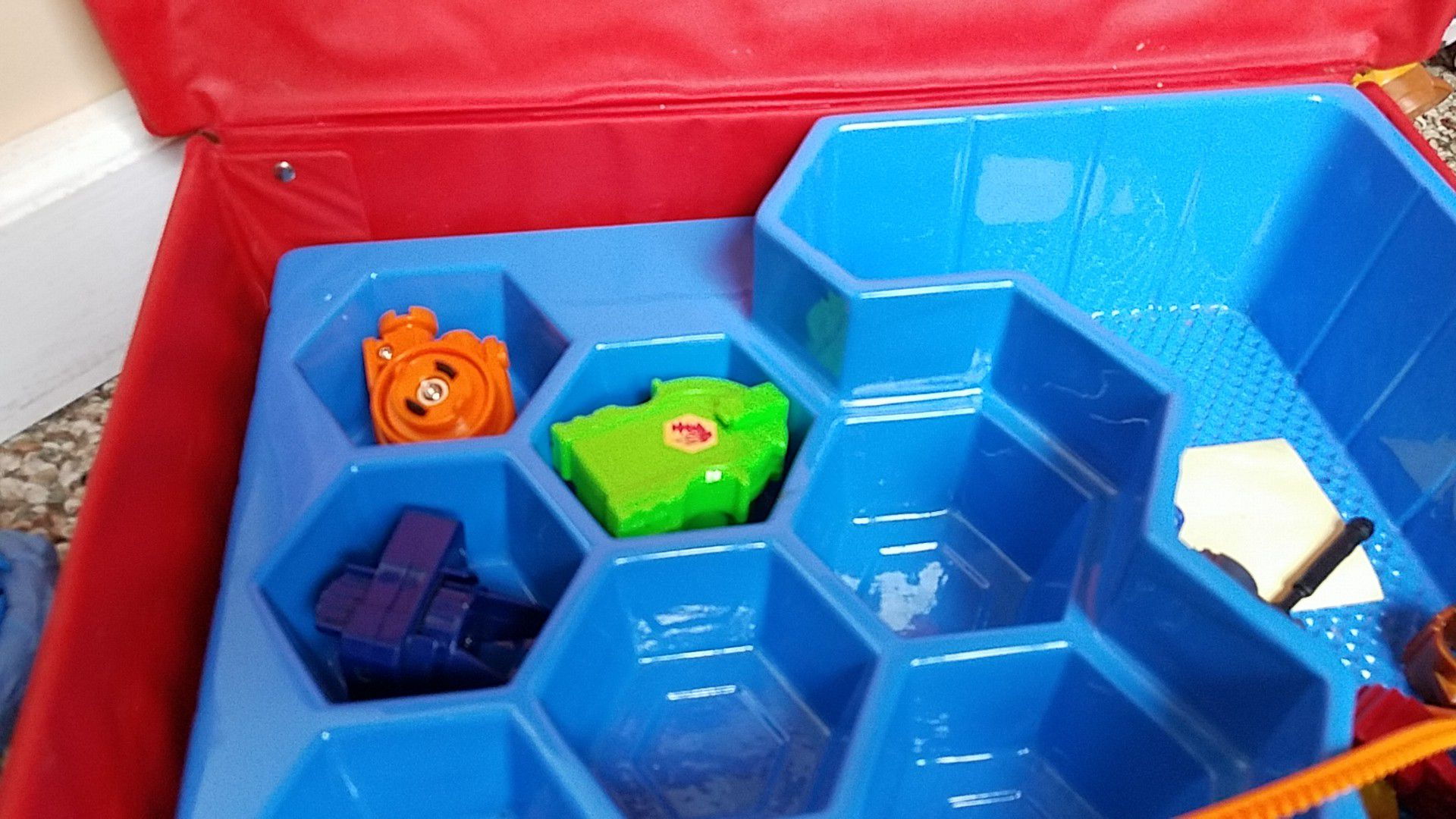Beyblades and arena sets