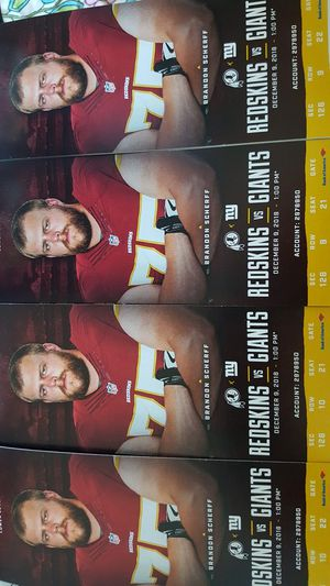 Redskins & Giants tickets. $70 per ticket will sell in pairs for Sale in Washington, DC