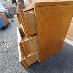 Modulus Morris Furniture Mid Century Modern Solid Wood 2 Meching End Tables/ Nighstands  / Side Tables  / 3 Drower Dressers Only $95 For Set.  Thumbnail