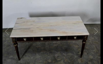 Marble Top Coffee Table, Cameo Detailing it measures H-19, L-40, D-20 Thumbnail