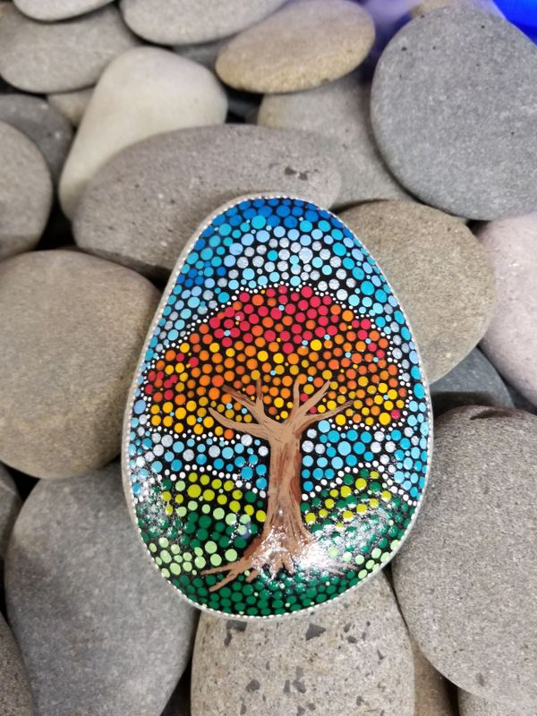Zen Dot Art Tree Stone Paper Weight For Sale In Tacoma Wa Offerup