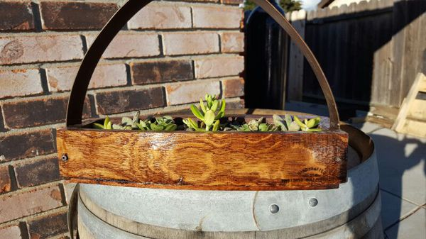 Wine Barrel Planter With Barrel Ring Handle For Sale In Fairfield
