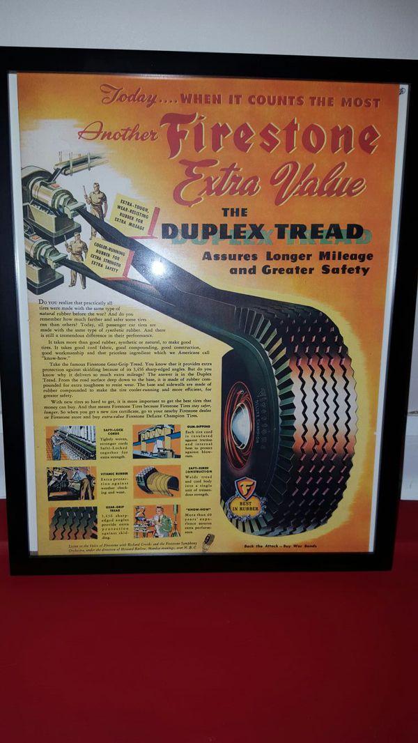 Framed 1944 Firestone Tire Duplex Tread Ad for Sale in Richmond, KY -  OfferUp
