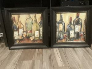 World Market painting wine posters with glass for Sale in Alexandria, VA