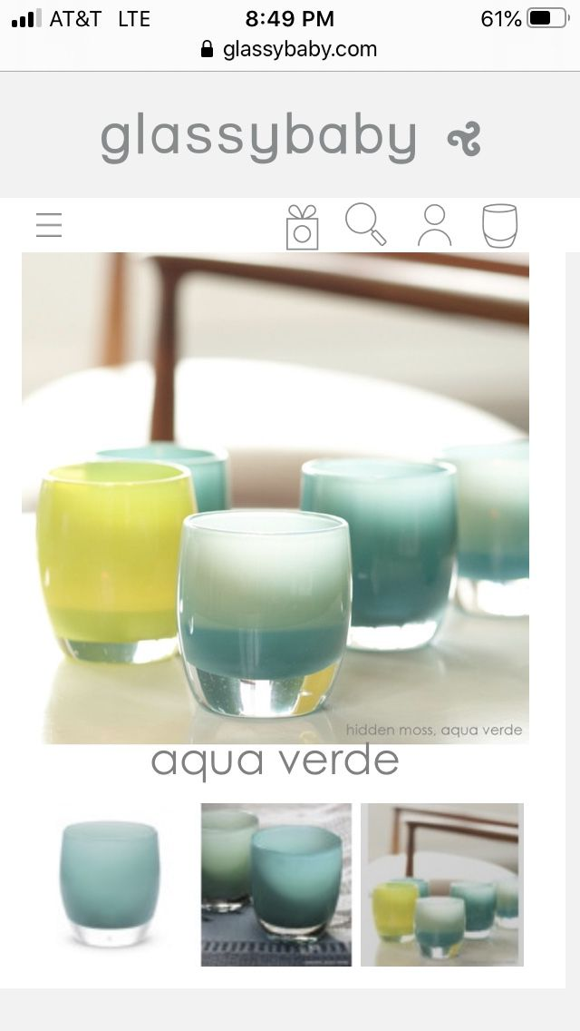 Glassybaby Aqua Verde turquoise green blue yellow hand blown glass votive candle holder🕯