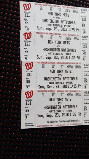 Nationals tickets (4) Sept 23 1:35pm tickets have $50 redeemable value each for food/beverage/gift shop will take a trade (offer up)! Obo for Sale in Arlington, VA