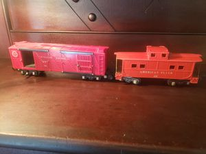 Photo Pair of American Flyer 1/64 scale postwar model railroad freight train cars