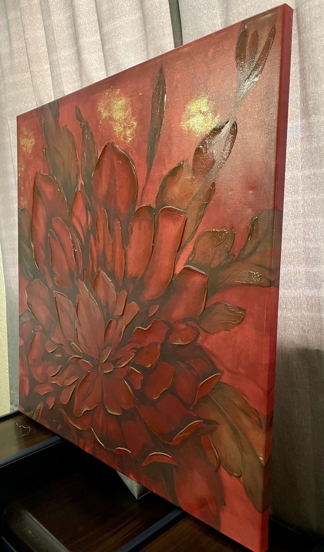 Large Red Flower Painted Canvas
