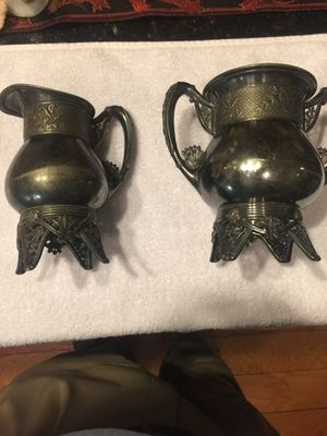 Pitcher and mug set 2pcs old silver plate has hallmark on bottom see pics for Sale in Austin, TX