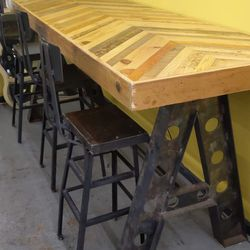 Custom built high Top table with iron chairs Thumbnail