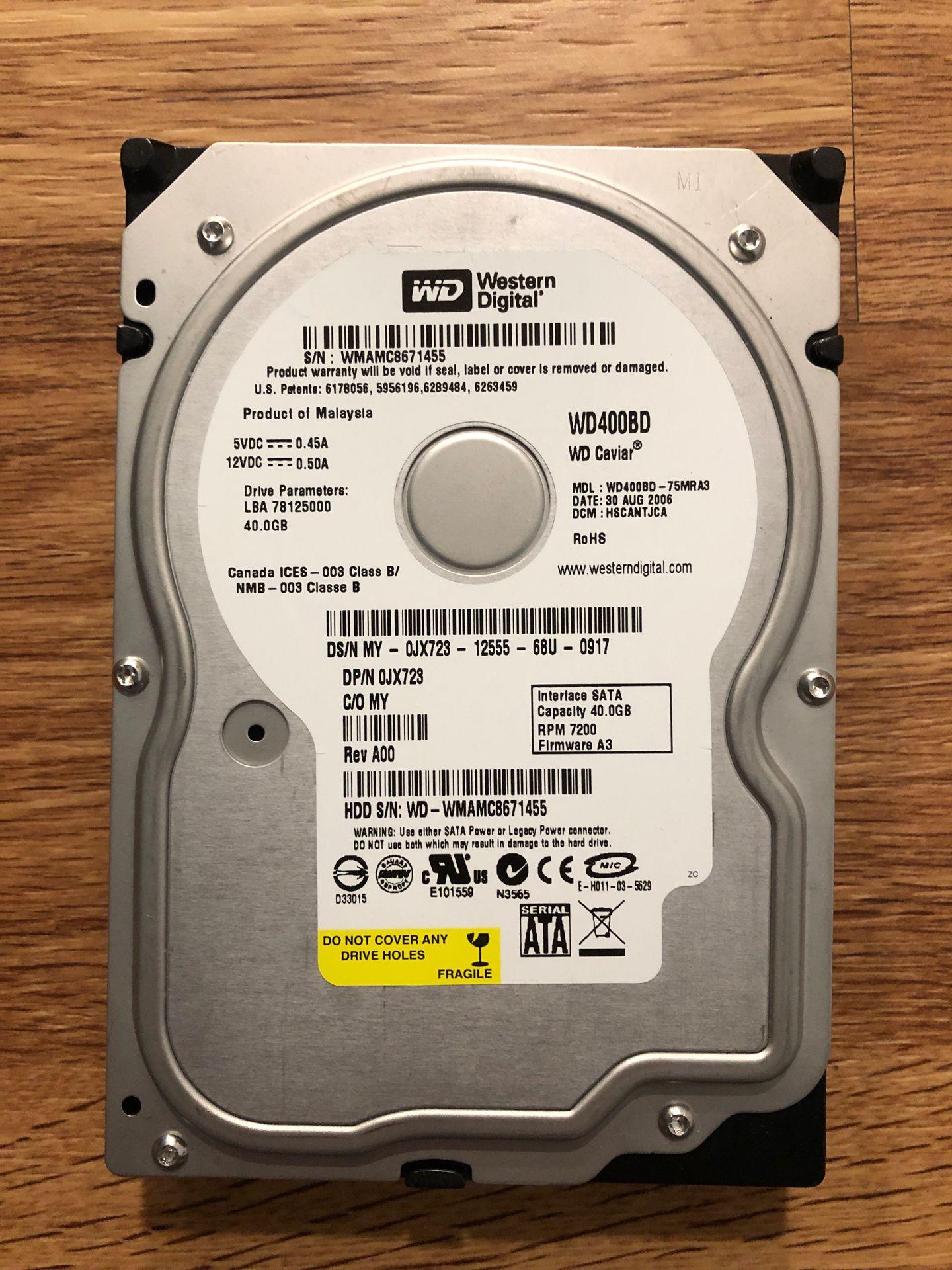 Western Digital 40gb hard drive
