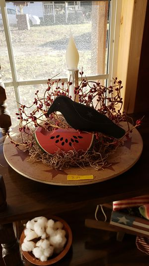 Large wooden plate with electric light and pip berries and crow and watermelon for Sale in Farmville, VA