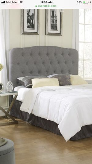Beautiful light gray linen tufted QUEEN headboard LIKE NEW for Sale in Silver Spring, MD