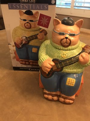 """Photo Cooks Club hand painted """"Cool Cat"""" cookie jar"""