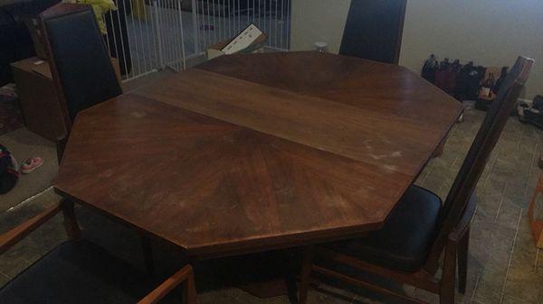 1950 S Foster Mcdaniel Walnut Octagonal Two Leaf Dining Table W 6 Chairs