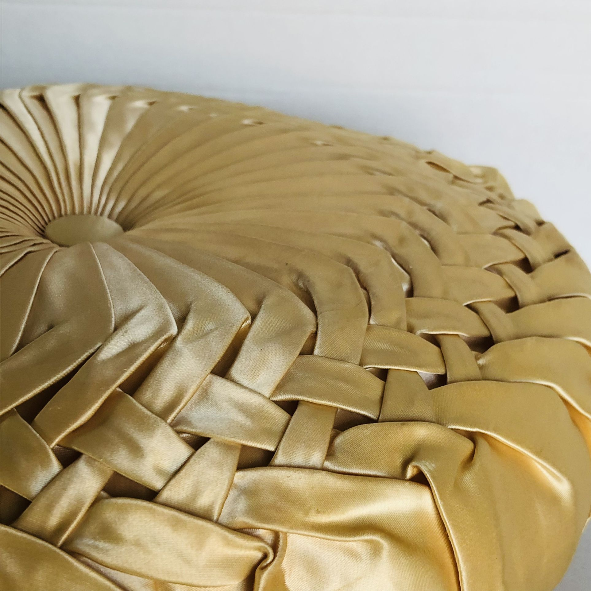 Pair Vintage Ruched TAFFETA Pillow Tucked Pleated Satin Retro GLAM As-Is