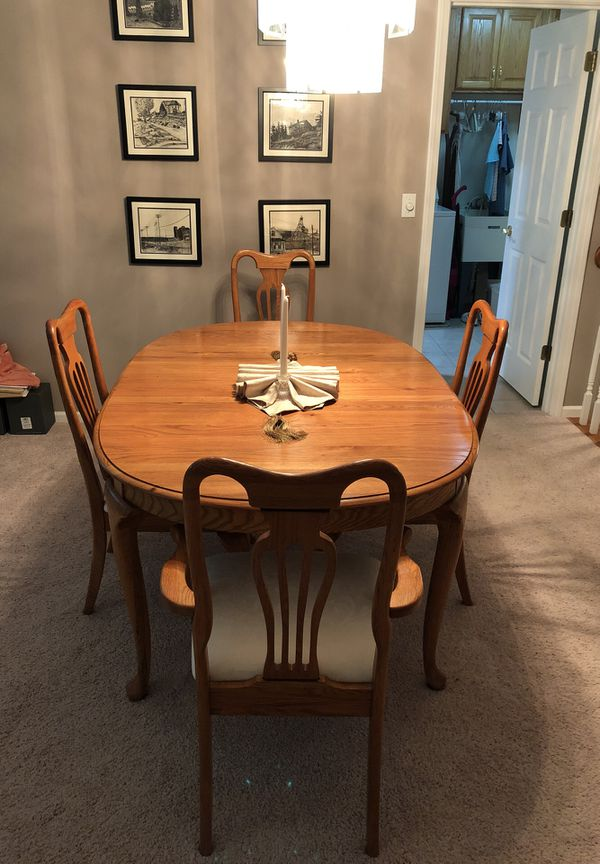 Dining Room Table 6 Chairs 3 Leaves And China Cabinet Us 65x43 Without The