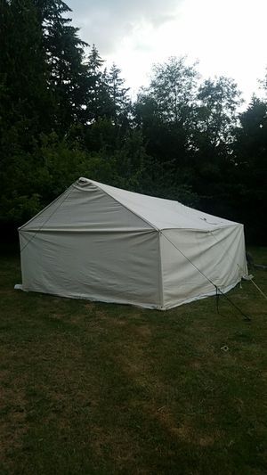 Camping. 12x14 Canvas wall tent with yeti 45 and stove! for Sale in Seattle, WA