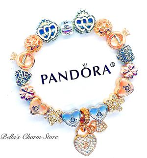 Photo Pandora Bracelet Key To My Heart Themed Beads and Charms Size 7.5