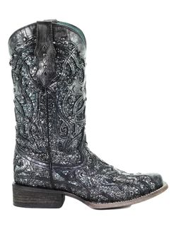 Corral Western Boot Womens Square Glitter Inlay 7.5 M Black Gray C3404 Thumbnail